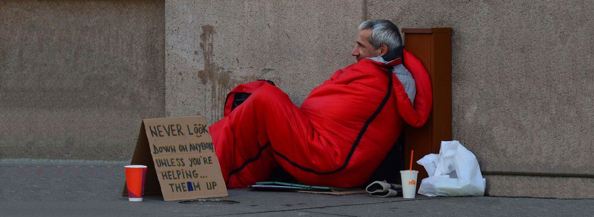 Homeless man needing housing advice food bank support and debt advice in Mid Devon